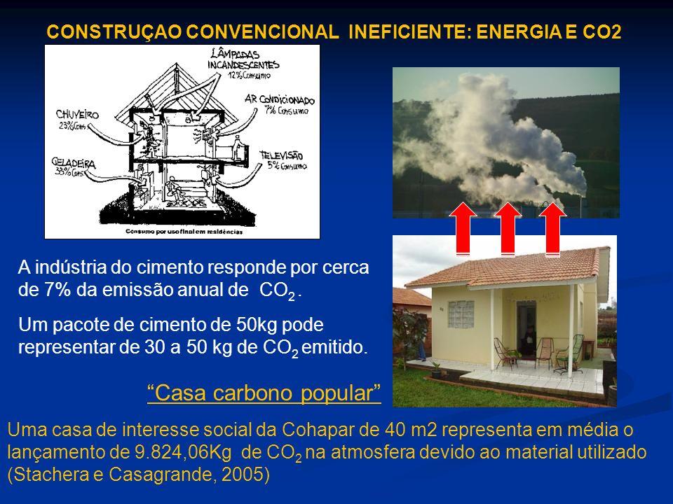 A indústria do cimento responde por cerca de 7% da emissão anual de CO 2. Um pacote de cimento de 50kg pode representar de 30 a 50 kg de CO 2 emitido.