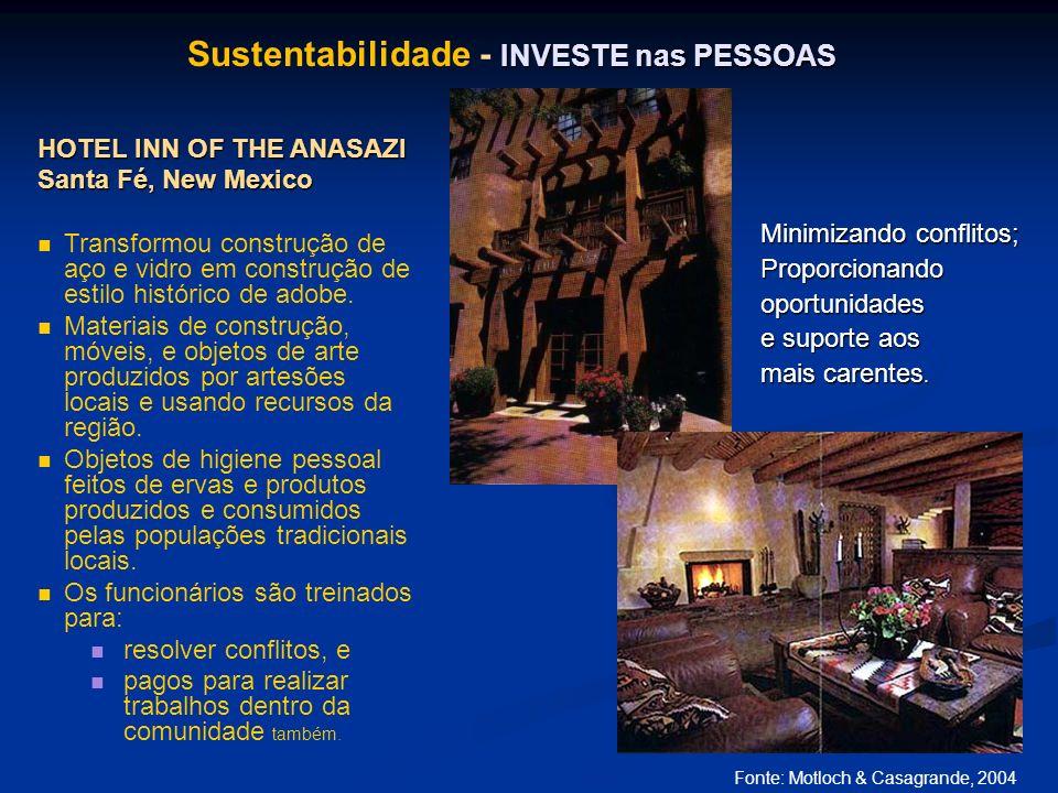 INVESTE nas PESSOAS Sustentabilidade - INVESTE nas PESSOAS HOTEL INN OF THE ANASAZI Santa Fé, New Mexico Transformou construção de aço e vidro em cons