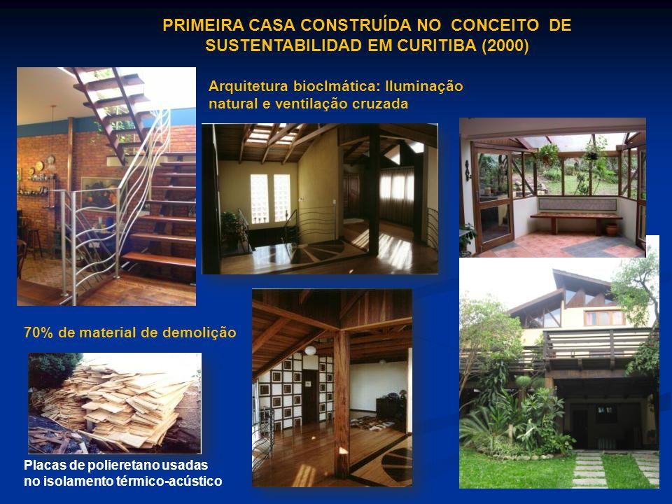 PRIMEIRA CASA CONSTRUÍDA NO CONCEITO DE SUSTENTABILIDAD EM CURITIBA (2000) Arquitetura bioclmática: Iluminação natural e ventilação cruzada 70% de mat