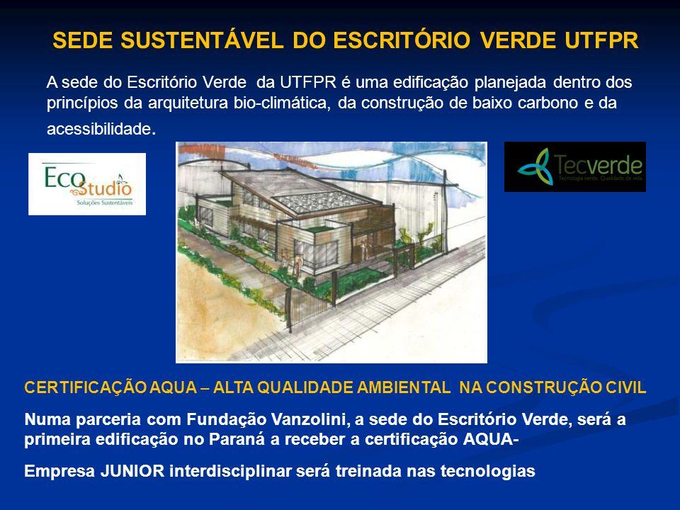 A sede do Escritório Verde da UTFPR é uma edificação planejada dentro dos princípios da arquitetura bio-climática, da construção de baixo carbono e da