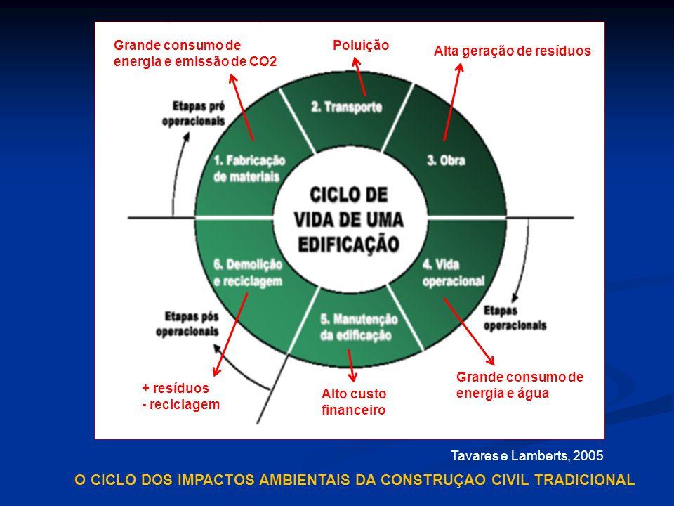 Tavares e Lamberts, 2005 Grande consumo de energia e emissão de CO2 Alta geração de resíduos Grande consumo de energia e água + resíduos - reciclagem