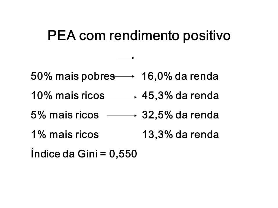 PEA com rendimento positivo 50% mais pobres 16,0% da renda 10% mais ricos 45,3% da renda 5% mais ricos 32,5% da renda 1% mais ricos13,3% da renda Índi