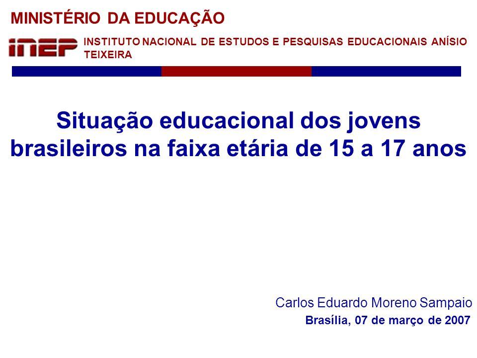 Ministério da Educação Instituto Nacional de Estudos e Pesquisas Educacionais Anísio Teixeira Teoricamente, uma vez observada a legislação em vigor, estaria garantida a conclusão do ensino fundamental para as crianças que atingissem 15 anos.