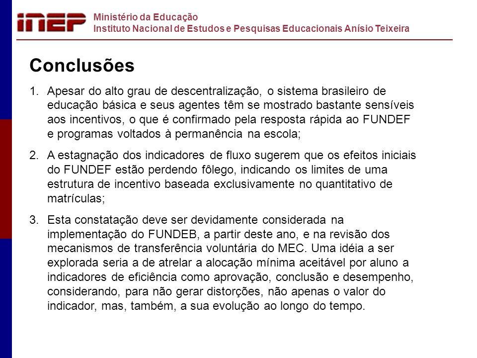 Ministério da Educação Instituto Nacional de Estudos e Pesquisas Educacionais Anísio Teixeira Conclusões 1.Apesar do alto grau de descentralização, o