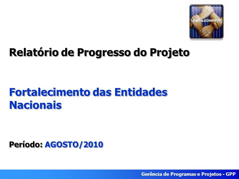 Gerência de Programas e Projetos - GPP Relatório de Progresso do Projeto Fortalecimento das Entidades Nacionais Período: AGOSTO/2010 Relatório de Progresso do Projeto Fortalecimento das Entidades Nacionais Período: AGOSTO/2010