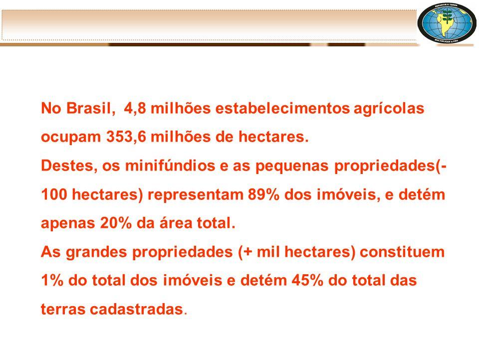 No Brasil, 4,8 milhões estabelecimentos agrícolas ocupam 353,6 milhões de hectares.