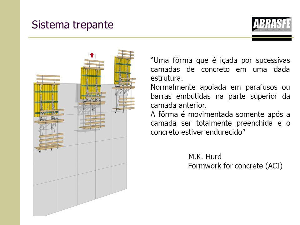 Sistema trepante Uma fôrma que é içada por sucessivas camadas de concreto em uma dada estrutura. Normalmente apoiada em parafusos ou barras embutidas