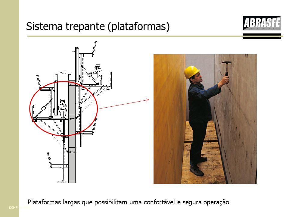 Plataformas largas que possibilitam uma confortável e segura operação KSMF-05-2007 Sistema trepante (plataformas)