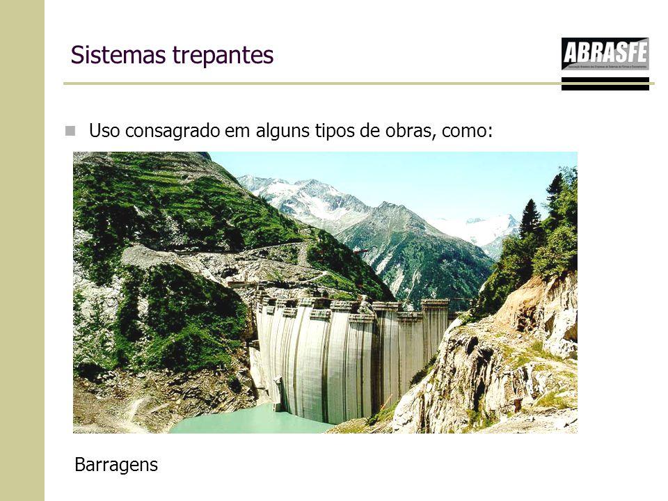 Sistemas trepantes Uso consagrado em alguns tipos de obras, como: Barragens