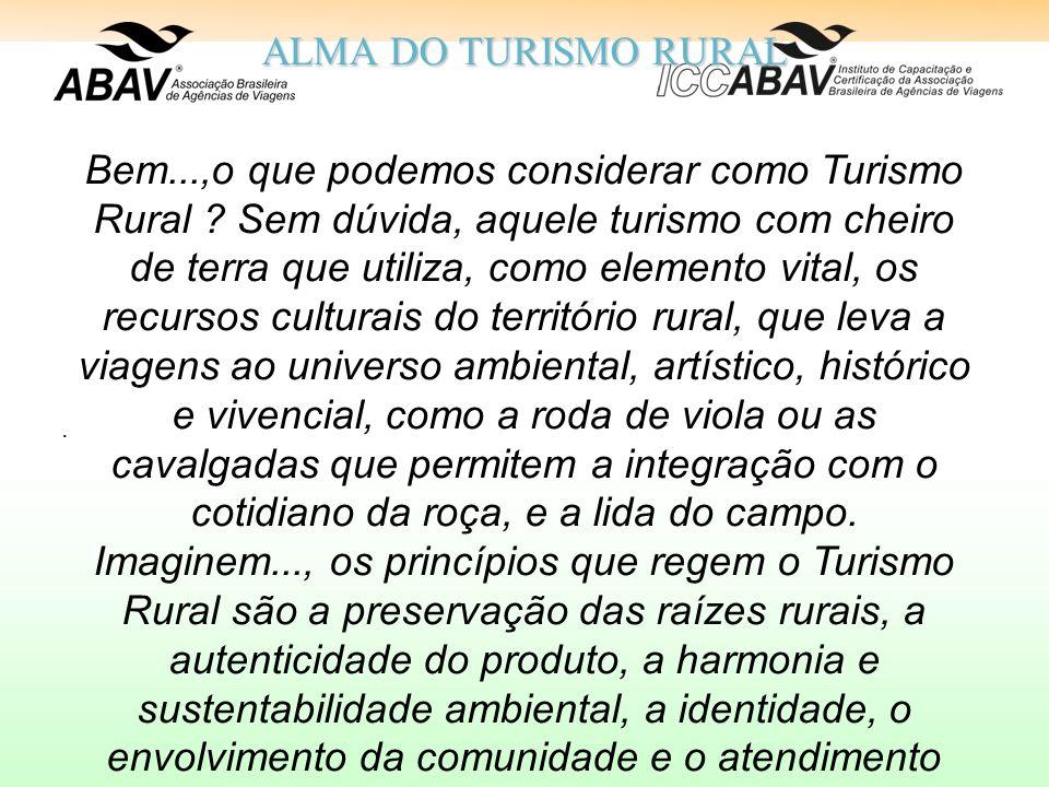 ALMA DO TURISMO RURAL Bem...,o que podemos considerar como Turismo Rural .