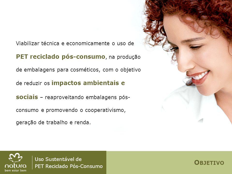 O BJETIVO Uso Sustentável de PET Reciclado Pós-Consumo Viabilizar técnica e economicamente o uso de PET reciclado pós-consumo, na produção de embalage