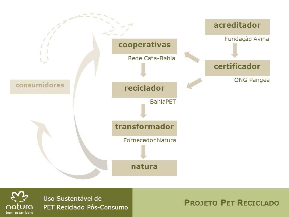 Uso Sustentável de PET Reciclado Pós-Consumo cooperativas Rede Cata-Bahia BahiaPET Fornecedor Natura consumidores Fundação Avina ONG Pangea reciclador