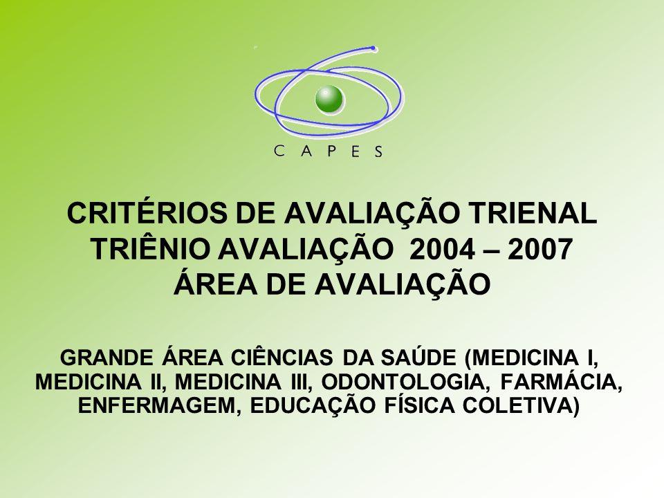 CRITÉRIOS DE AVALIAÇÃO TRIENAL TRIÊNIO AVALIAÇÃO 2004 – 2007 ÁREA DE AVALIAÇÃO GRANDE ÁREA CIÊNCIAS DA SAÚDE (MEDICINA I, MEDICINA II, MEDICINA III, ODONTOLOGIA, FARMÁCIA, ENFERMAGEM, EDUCAÇÃO FÍSICA COLETIVA)