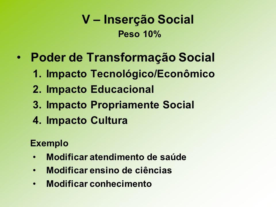 Poder de Transformação Social 1.Impacto Tecnológico/Econômico 2.Impacto Educacional 3.Impacto Propriamente Social 4.Impacto Cultura Exemplo Modificar atendimento de saúde Modificar ensino de ciências Modificar conhecimento