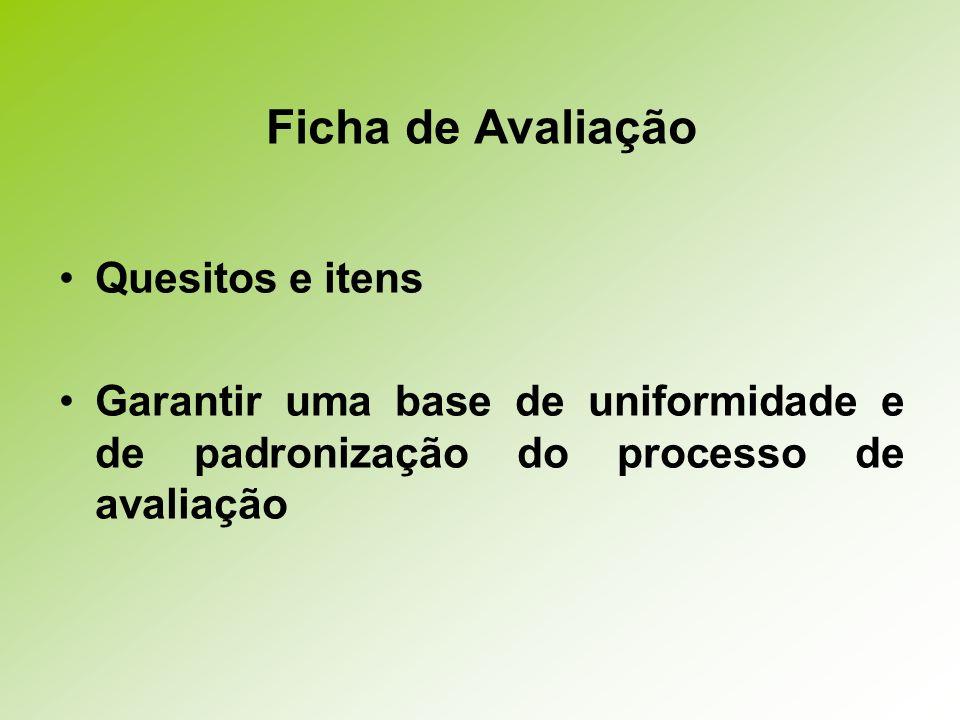 Ficha de Avaliação Quesitos e itens Garantir uma base de uniformidade e de padronização do processo de avaliação