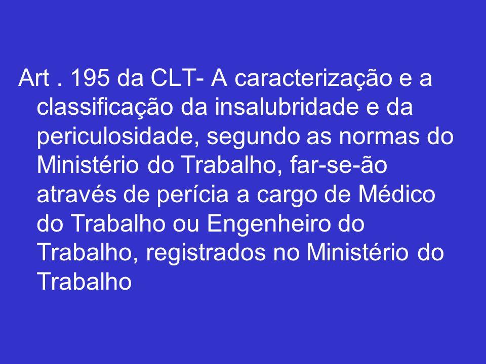 Art. 195 da CLT- A caracterização e a classificação da insalubridade e da periculosidade, segundo as normas do Ministério do Trabalho, far-se-ão atrav