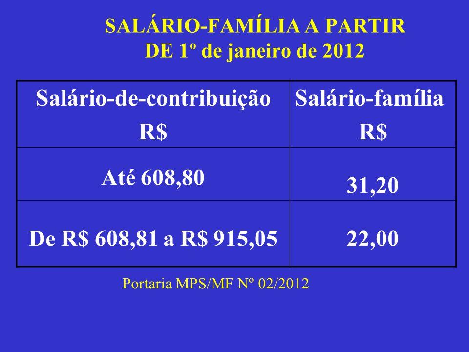 SALÁRIO-FAMÍLIA A PARTIR DE 1º de janeiro de 2012 Salário-de-contribuição R$ Salário-família R$ Até 608,80 31,20 De R$ 608,81 a R$ 915,0522,00 Portari