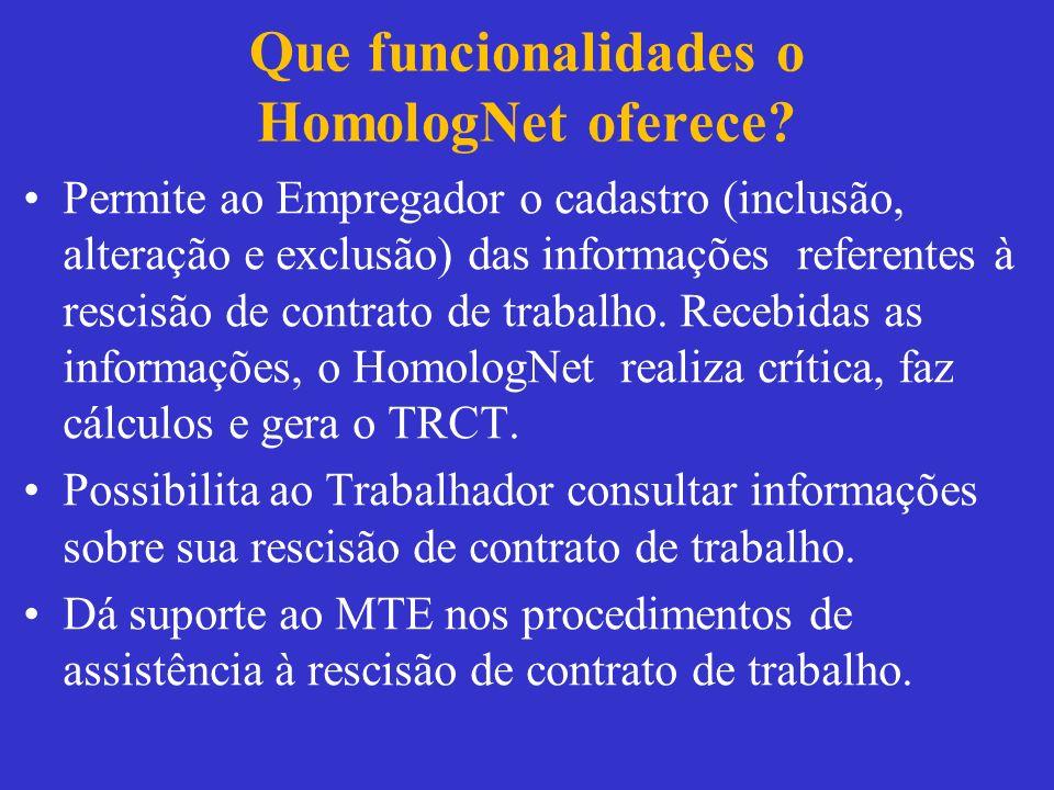 Que funcionalidades o HomologNet oferece? Permite ao Empregador o cadastro (inclusão, alteração e exclusão) das informações referentes à rescisão de c