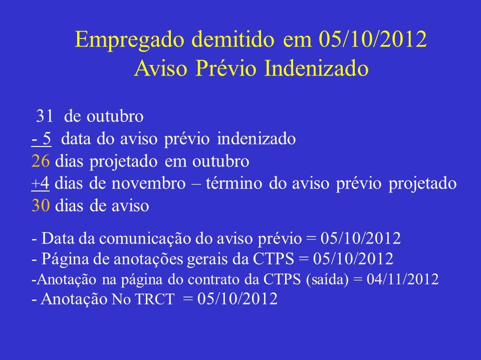 Empregado demitido em 05/10/2012 Aviso Prévio Indenizado 31 de outubro - 5 data do aviso prévio indenizado 26 dias projetado em outubro + 4 dias de no
