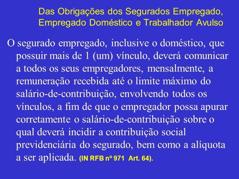Das Obrigações dos Segurados Empregado, Empregado Doméstico e Trabalhador Avulso O segurado empregado, inclusive o doméstico, que possuir mais de 1 (u