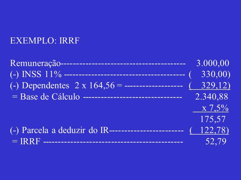 EXEMPLO: IRRF Remuneração---------------------------------------- 3.000,00 (-) INSS 11% --------------------------------------- ( 330,00) (-) Dependen