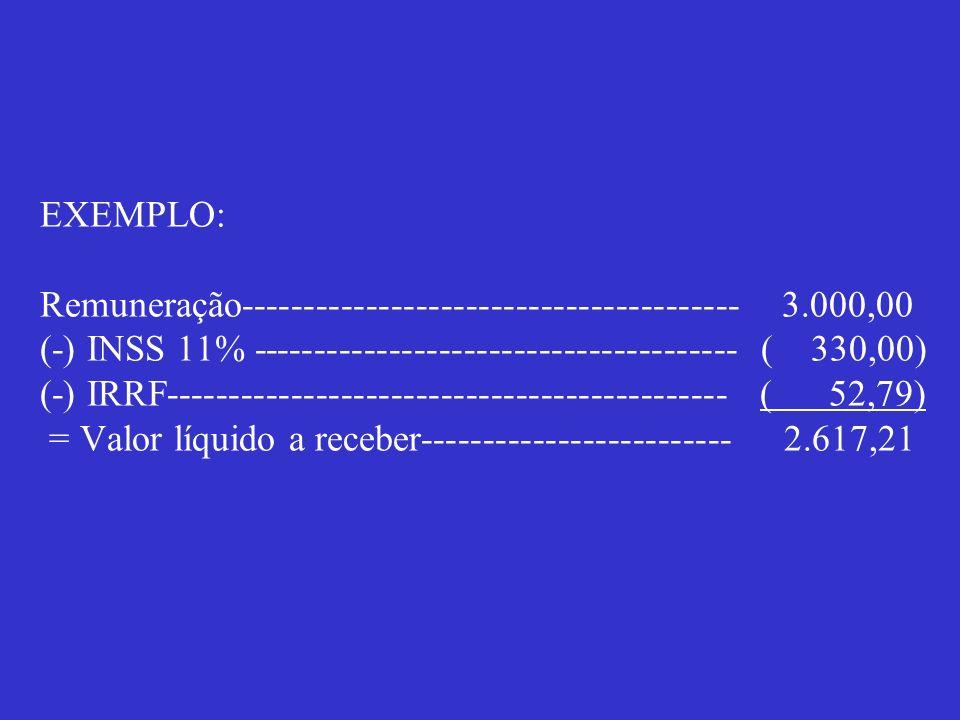 EXEMPLO: Remuneração---------------------------------------- 3.000,00 (-) INSS 11% --------------------------------------- ( 330,00) (-) IRRF---------