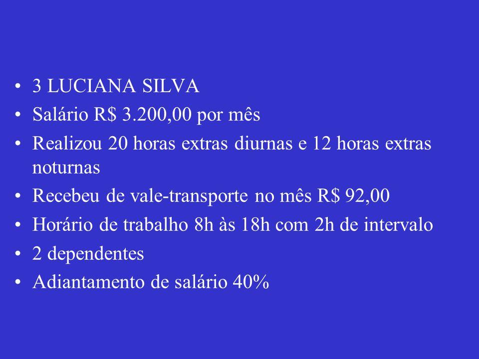 3 LUCIANA SILVA Salário R$ 3.200,00 por mês Realizou 20 horas extras diurnas e 12 horas extras noturnas Recebeu de vale-transporte no mês R$ 92,00 Hor