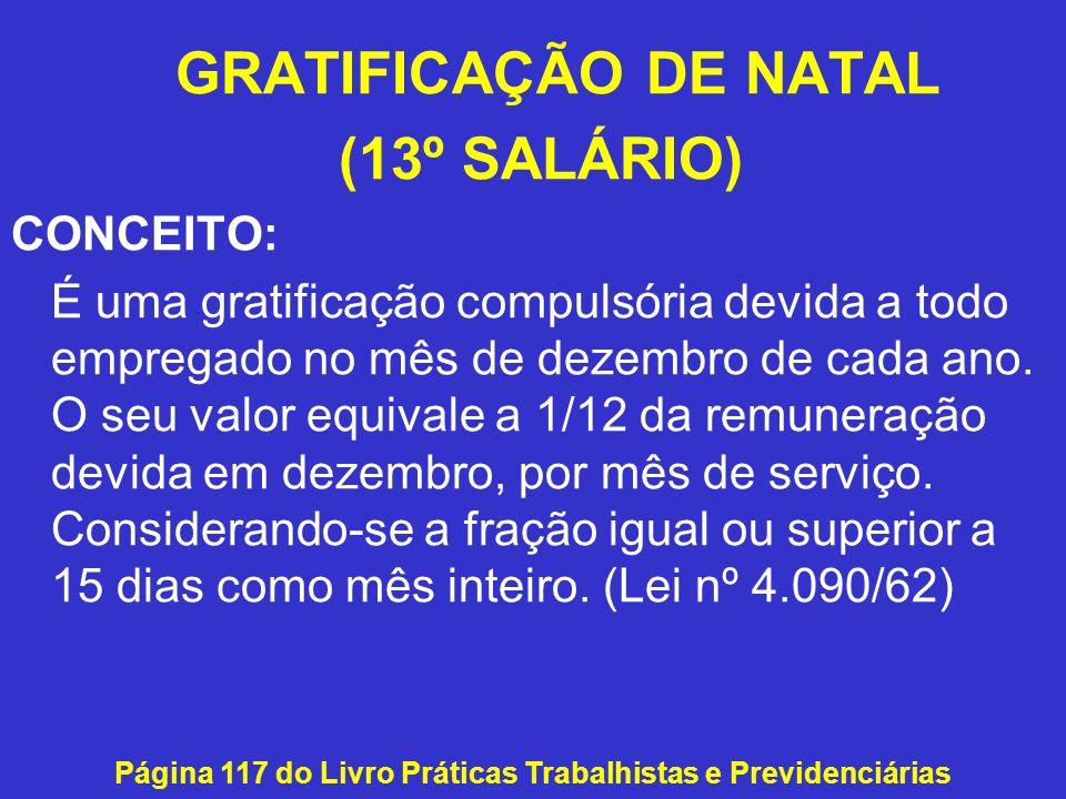GRATIFICAÇÃO DE NATAL (13º SALÁRIO) CONCEITO: É uma gratificação compulsória devida a todo empregado no mês de dezembro de cada ano. O seu valor equiv
