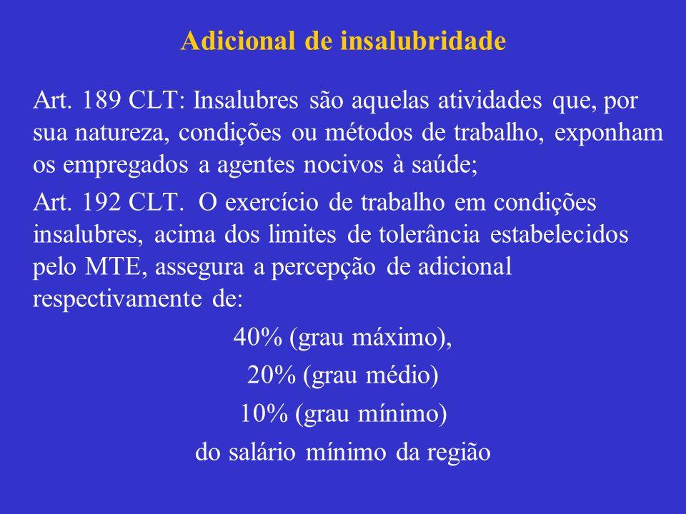 Adicional de insalubridade Art. 189 CLT: Insalubres são aquelas atividades que, por sua natureza, condições ou métodos de trabalho, exponham os empreg