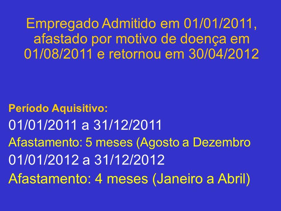Período Aquisitivo: 01/01/2011 a 31/12/2011 Afastamento: 5 meses (Agosto a Dezembro 01/01/2012 a 31/12/2012 Afastamento: 4 meses (Janeiro a Abril) Emp