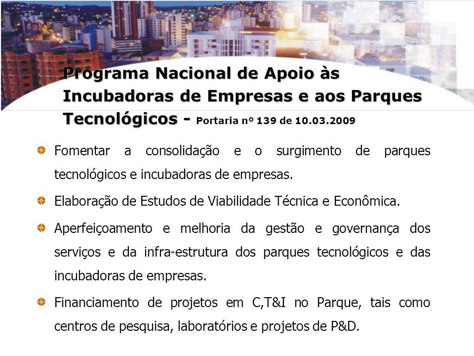 Programa Nacional de Apoio às Incubadoras de Empresas e aos Parques Tecnológicos - Programa Nacional de Apoio às Incubadoras de Empresas e aos Parques