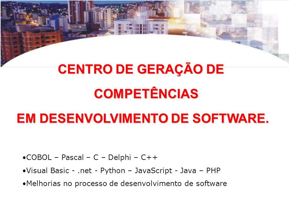 CENTRO DE GERAÇÃO DE COMPETÊNCIAS COMPETÊNCIAS EM DESENVOLVIMENTO DE SOFTWARE. EM DESENVOLVIMENTO DE SOFTWARE. COBOL – Pascal – C – Delphi – C++ Visua