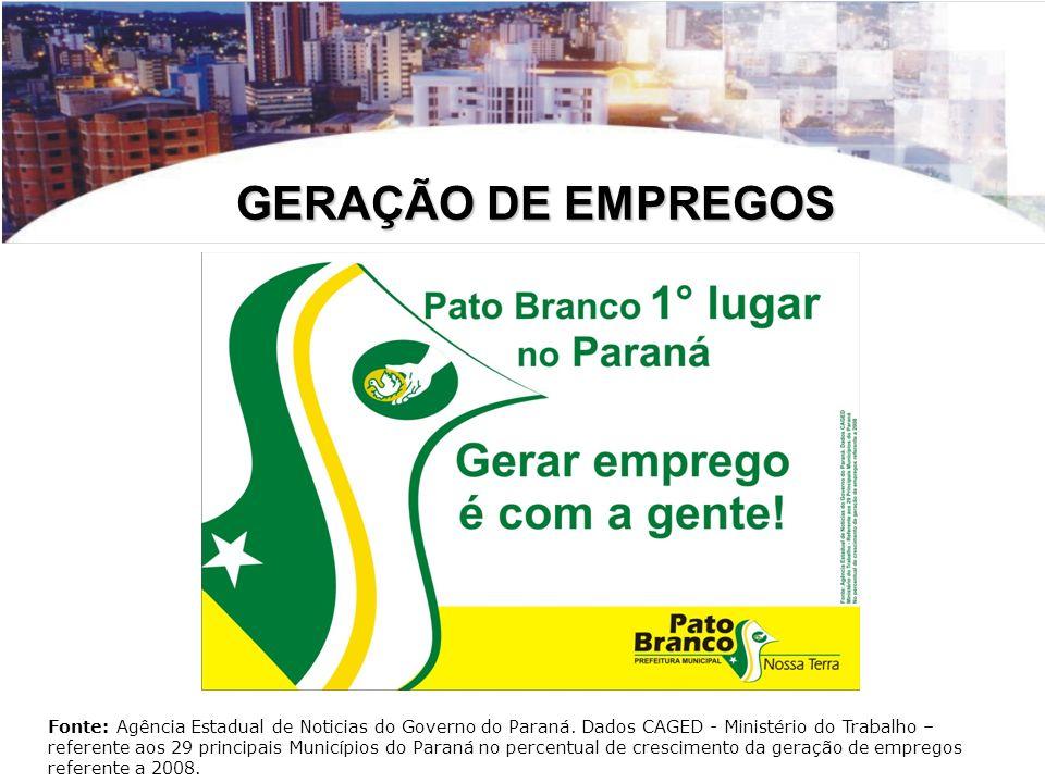 GERAÇÃO DE EMPREGOS Fonte: Agência Estadual de Noticias do Governo do Paraná. Dados CAGED - Ministério do Trabalho – referente aos 29 principais Munic
