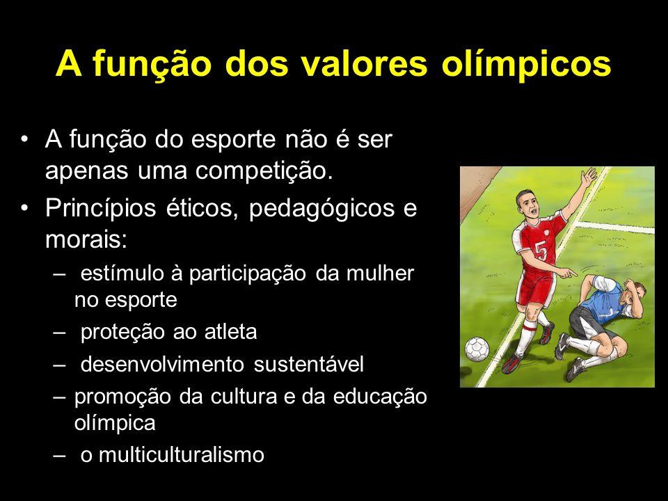 A função dos valores olímpicos A função do esporte não é ser apenas uma competição. Princípios éticos, pedagógicos e morais: – estímulo à participação