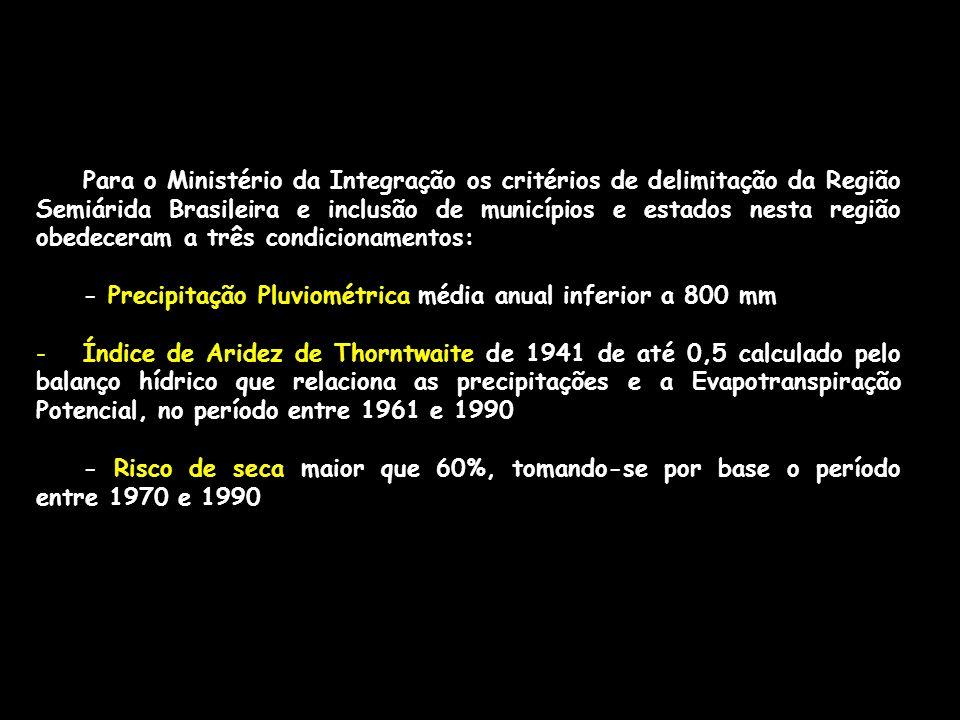 Para o Ministério da Integração os critérios de delimitação da Região Semiárida Brasileira e inclusão de municípios e estados nesta região obedeceram