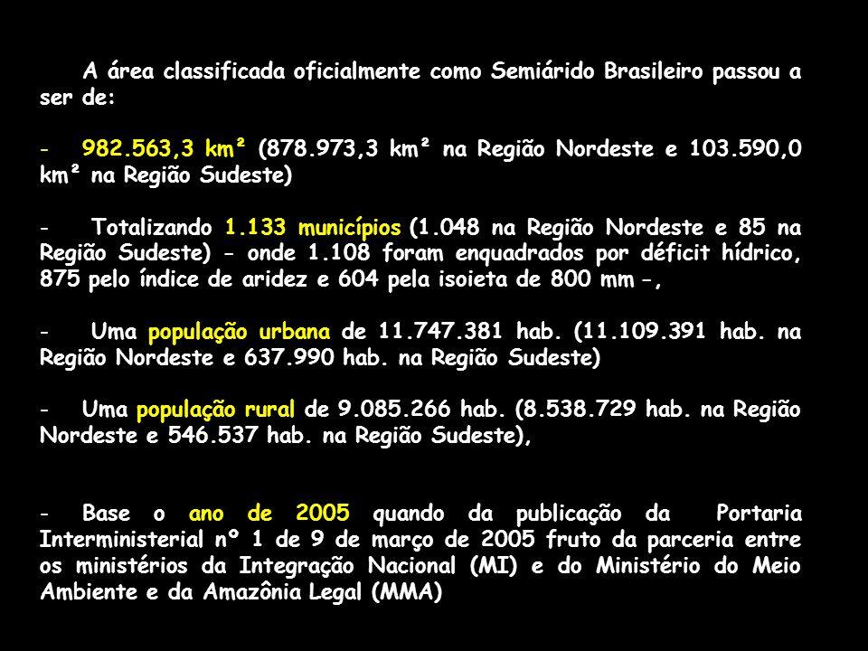 A área classificada oficialmente como Semiárido Brasileiro passou a ser de: -982.563,3 km² (878.973,3 km² na Região Nordeste e 103.590,0 km² na Região