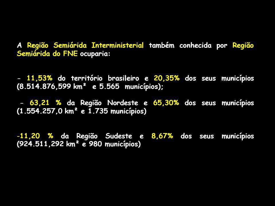 A Região Semiárida Interministerial também conhecida por Região Semiárida do FNE ocuparia: - 11,53% do território brasileiro e 20,35% dos seus municíp