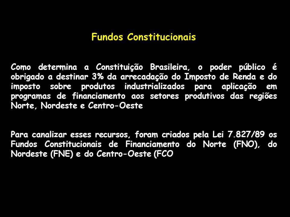 Fundos Constitucionais Como determina a Constituição Brasileira, o poder público é obrigado a destinar 3% da arrecadação do Imposto de Renda e do impo