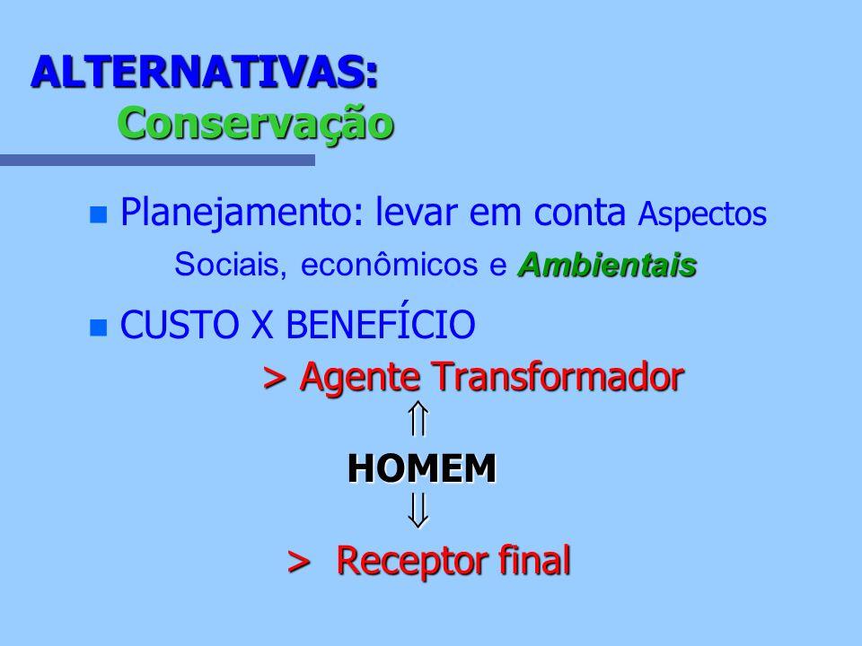 ALTERNATIVAS: Conservação Ambientais Planejamento: levar em conta Aspectos Sociais, econômicos e Ambientais n n CUSTO X BENEFÍCIO > Agente Transformad
