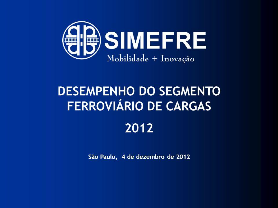 12.000 vagões de carga 150 locomotivas + CAPACIDADE INSTALADA ANUAL FONTE: SIMEFRE/ABIFER