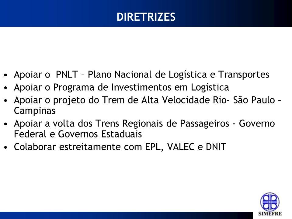 DIRETRIZES Apoiar o PNLT – Plano Nacional de Logística e Transportes Apoiar o Programa de Investimentos em Logística Apoiar o projeto do Trem de Alta Velocidade Rio- São Paulo – Campinas Apoiar a volta dos Trens Regionais de Passageiros - Governo Federal e Governos Estaduais Colaborar estreitamente com EPL, VALEC e DNIT
