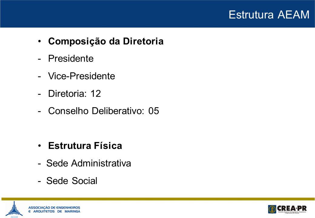 Composição da Diretoria -Presidente -Vice-Presidente -Diretoria: 12 -Conselho Deliberativo: 05 Estrutura Física - Sede Administrativa - Sede Social Es