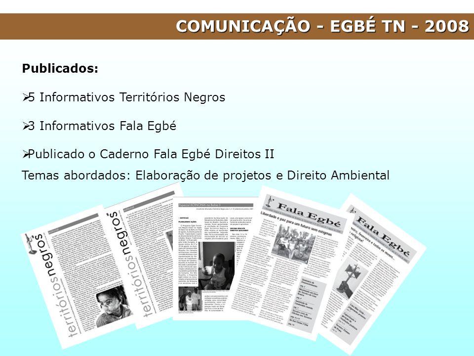 COMUNICAÇÃO - EGBÉ TN - 2008 Publicados: 5 Informativos Territórios Negros 3 Informativos Fala Egbé Publicado o Caderno Fala Egbé Direitos II Temas ab