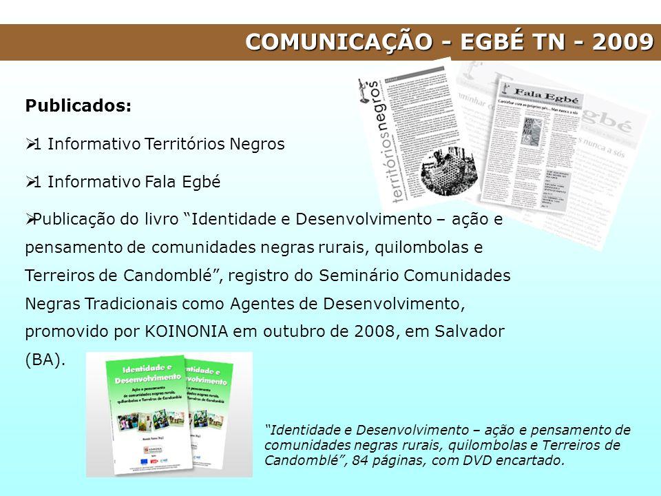Publicados: 1 Informativo Territórios Negros 1 Informativo Fala Egbé Publicação do livro Identidade e Desenvolvimento – ação e pensamento de comunidad