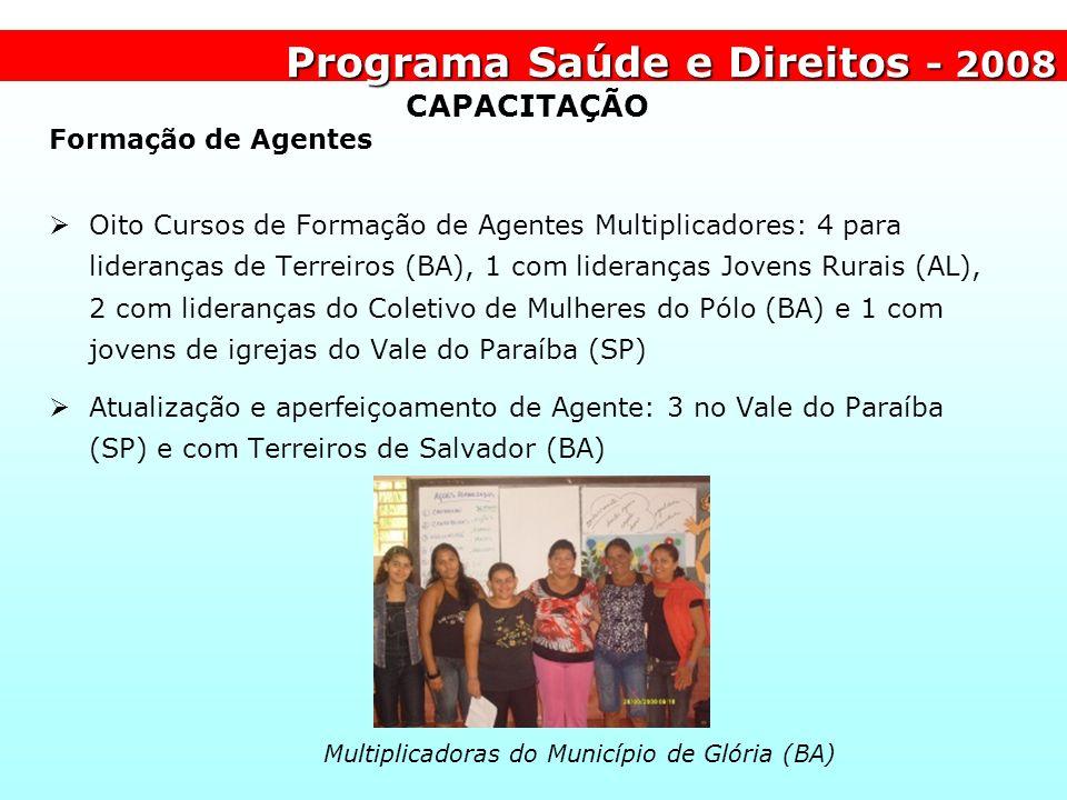 Programa Saúde e Direitos - 2008 Multiplicadoras do Município de Glória (BA) CAPACITAÇÃO Formação de Agentes Oito Cursos de Formação de Agentes Multip