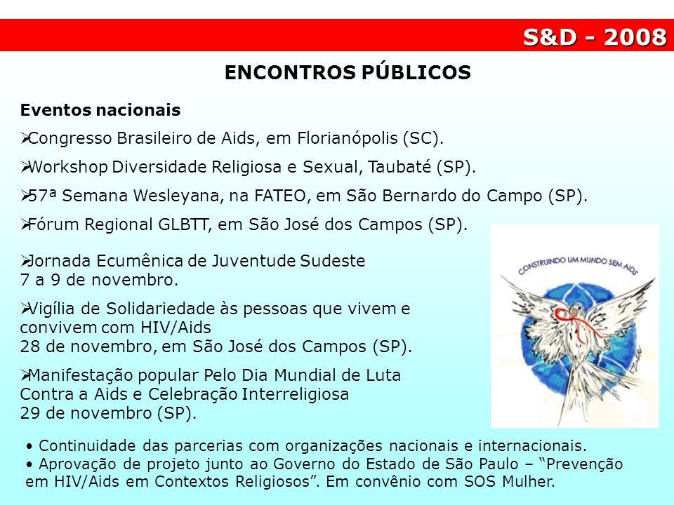 S&D - 2008 ENCONTROS PÚBLICOS Eventos nacionais Congresso Brasileiro de Aids, em Florianópolis (SC). Workshop Diversidade Religiosa e Sexual, Taubaté