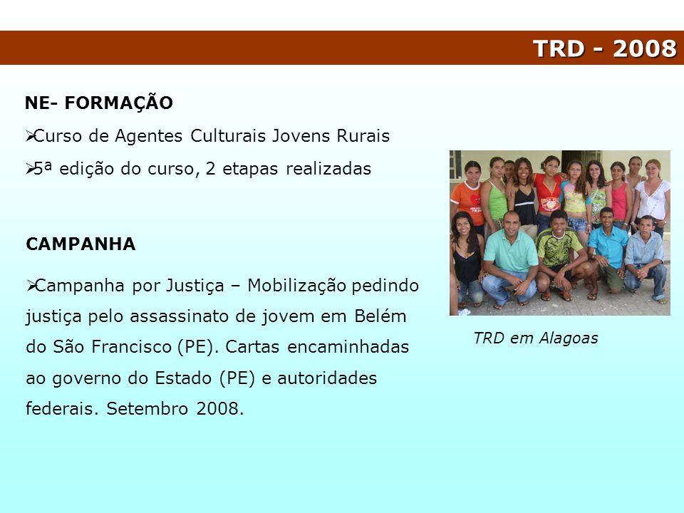 NE- FORMAÇÃO Curso de Agentes Culturais Jovens Rurais 5ª edição do curso, 2 etapas realizadas TRD - 2008 TRD em Alagoas CAMPANHA Campanha por Justiça