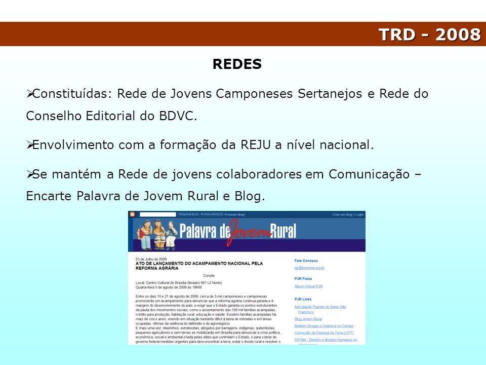 TRD - 2008 Constituídas: Rede de Jovens Camponeses Sertanejos e Rede do Conselho Editorial do BDVC. Envolvimento com a formação da REJU a nível nacion