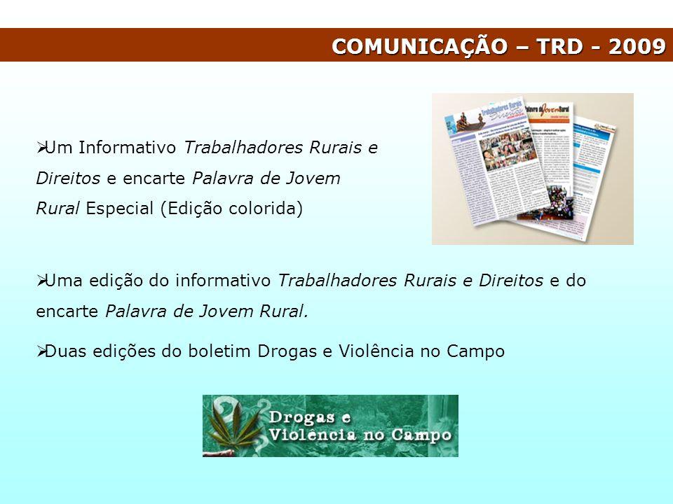 COMUNICAÇÃO – TRD - 2009 Um Informativo Trabalhadores Rurais e Direitos e encarte Palavra de Jovem Rural Especial (Edição colorida) Uma edição do info