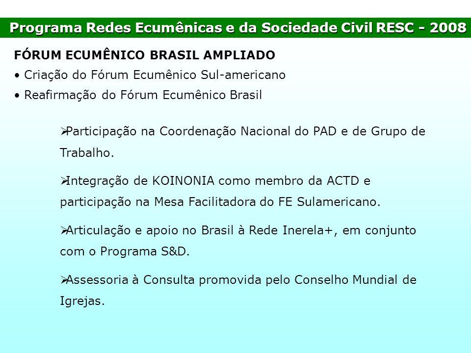Programa Redes Ecumênicas e da Sociedade CivilRESC - 2008 Programa Redes Ecumênicas e da Sociedade Civil RESC - 2008 FÓRUM ECUMÊNICO BRASIL AMPLIADO C